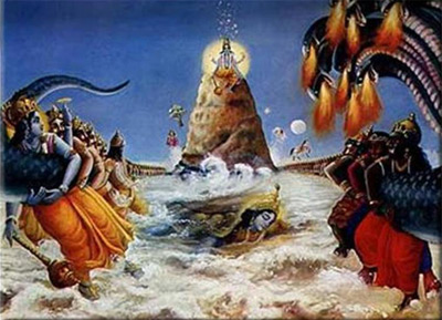 Unter dem Berg lässt sich Sri Kurma genüsslich den Rücken kratzen