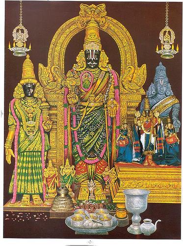 Ein gemaltes Bild der Altargestalt namens Partha-Sarathi in Chennai (Madras). Fotos vom Altar sind im Tempel leider nicht erlaubt.